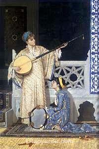 İki Müzisyen Kız  / Osman Hamdi Bey (OHB 011-60x90) (Çerçevesiz)